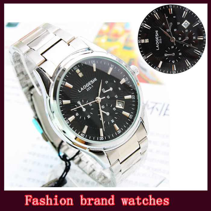 Business Wristwatches men quartz watches Brand luxury calendar high quality free shipping(China (Mainland))