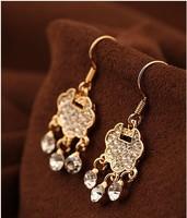 Free Shipping Min.Order $10 2013 newest fashion shiny metal crystal love lock drop earrings High quality