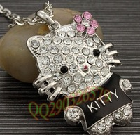 2013 NEW Wholesale 3pcs/lot Crystal Hello Kitty black coat necklace. jewelry.Lovely necklace.TOP quality.Free shipping