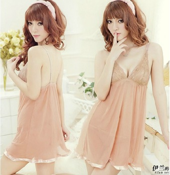 2013 new 2 Piece women's ice silk Dress sexy, feminine lace nightgown Lingerie ladies sexy sleepwear