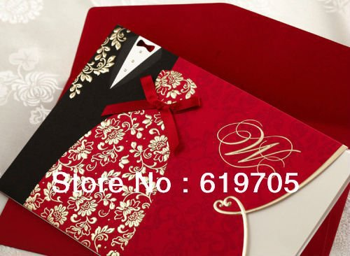 Free shipping The Bride and Groom Red Wedding Invitations Cards With Customize Printing With Cute Ribbon Wholesale(China (Mainland))