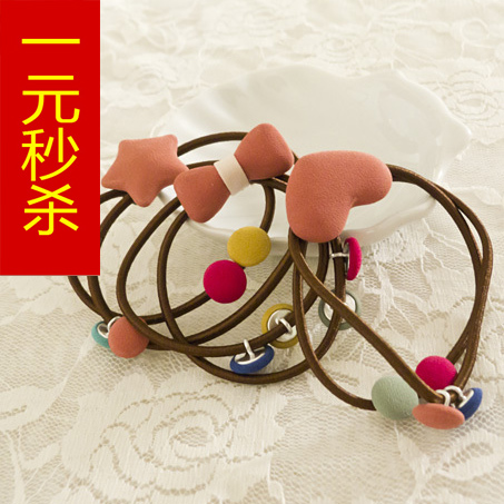 Hair accessory candy color cloth lovely peach heart bow headband hair rope rubber band(China (Mainland))