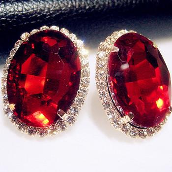 Multicolour crystal gem austrian oval shape ladies sexy super large stud earring