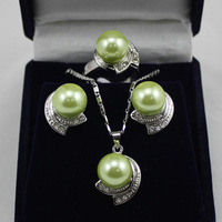Women's new Jewellery Bridal > Lady's Sallei nanyang pearl 10mm sallei green pearl set gift 78