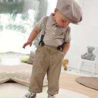2014 New Wholesale 2 piece lovely baby clothing set, stripped t shirt+ overalls, baby girl suit clothes, F8065, 5pcs/lot