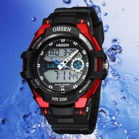 NEW MODEL FREE SHIPPING!!OHSEN casual watch Digital & analog Dual Time 6 colours 10pcs NO1302