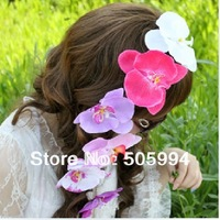 12pcs Moth Orchid Flower with Hair Clips Girls Head Flower Children Kid's Hair Accessories Free Shipping