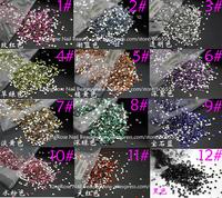 Hot 10000pcs Rhinestone Decoration Crystal Glitter Nail Art bow round acrylic 2mm nail jewelry 12 color choosed free shipping