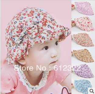 2013 New Arrival Free Shipping Top Wholesale Cotton Beret Hat Beanie Cap Baby Flower Bow Hat Princess Sun Hat Baby Beach Hats(China (Mainland))