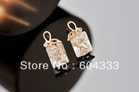 New ! 6pairs  Rose Gold  Square Zircon Earrings Zirconia  Dangle Stud Earrings Party Engagement  Jewelry