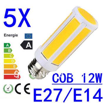 5X COB Corn Bulb 12W SMD LED Light E27/E14/B22  Home Kitchen Lamp High Power 7 Intergrated Chips 85-265V Free Shipping