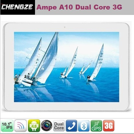Ampe A10 10.1 inch IPS Android 4.0 3G Version 3G Qualcomm 1.2GHz Dual Core GPS WCDMA GSM Phone Call Tablet PC(China (Mainland))