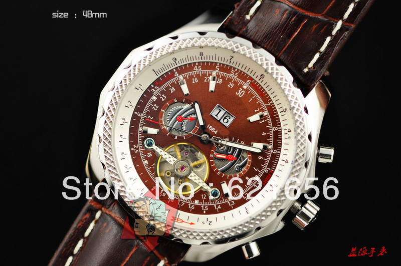 Luxury High Quality Automatic Mens Watch 18K Gold Tourbillon Leather Bentley Motors Wristwatch +Box Mechanical Men's Watches(China (Mainland))