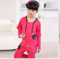 Authentic Children'S Wear The New Spring 2013 Girls Han Edition leisure Sports Suit Cuhk Children Three-Piece Suit Girls Clothes