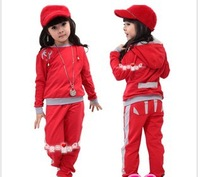 Комплект одежды для девочек Baby 2013 Spring Children'S Clothing Female Child Sports Casual Set Child Set Spring And Autumn