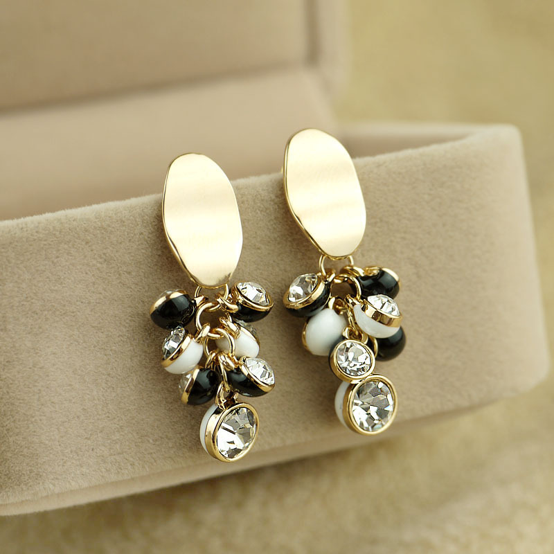 Elegant crystal fresh bead stud earring earrings accessories jewelry e5401(China (Mainland))