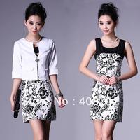 Free shipping 2013 summer blazer ol work wear,plus size dress twinset, female short-sleeve dress+women suit,women's clothing