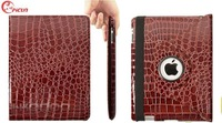 Free shipping 5pcs/lot New Ultra Stylish Leather 360 Rotating Cover Stand For iPad4 2 3 4Case,Luxury Crocodile Pattern in stock