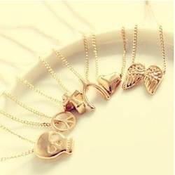 Min.order is $15 (mix order) Free Shipping Gold Color Make A Wish 12 Type to choose Vintage Jewelry Short Necklaces XY-N175(China (Mainland))