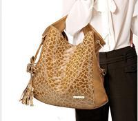 Free shipping  2013 new stone pattern flower tassels cow genuine leather & PU leather handbags Korean female bag 166