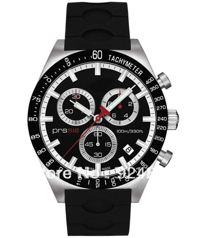 2012 HOT sale Chronograph PRS516 Men T044.417.27.051.00 Black leather Dial watch(China (Mainland))