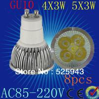 Free shipping 8pcs GU10  12W 15W  4x3W 5x3W 85-265V Dimmable High power CREE LED Spot Light Bulb Spotlight downlight