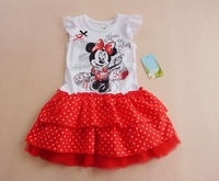 Free Shipping 2013 Factory direct sales, wholesale children dress 5pcs/lot cotton girls dress girls cothes cute minnie clothing