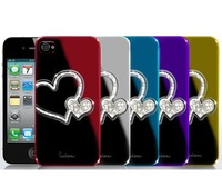 New arrival wholesales orginal love heart Luxury Swarovski Bling Diamond Cover Case fit for apple iPhone5 5G