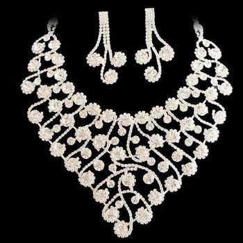 Formal dress jewelry set NEOGLORY white rhinestone flower vine luxury elegant bride wedding necklace chain sets