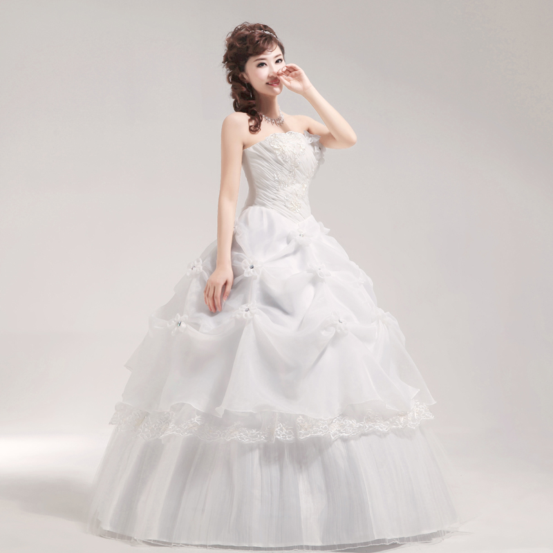 3.5 2013 sweet princess wedding dress tube top vintage lotus leaf flower wedding dress(China (Mainland))