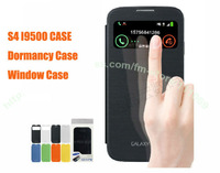 50pcs/lot.DHL/EMS Free.Hot!!,Original Flip cover stand leather case,Dormancy case for Samsung Galaxy S4 i9500.with retail box