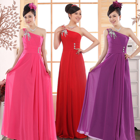 Long design fashion evening dress the bride married evening dress bridesmaid one shoulder dinner 2013(China (Mainland))
