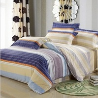 Hot selling 2013 New100% cotton stripe twill stripes grid print bedding sets 4pcs-Free shipping!