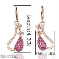 free shipping 18 K gold plated earrings Genuine Austrian crystals earrings,Nickle free antiallergic factory prices qod fj GPE038
