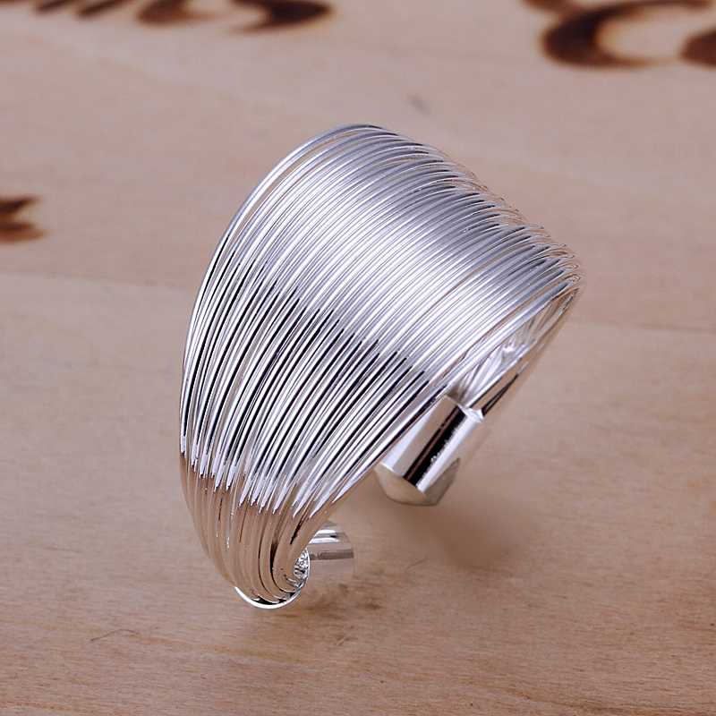 Free shipping 925 sterling silver jewelry ring fine cute multi-line ring hot sale top quality wholesale and retail SMTR018(China (Mainland))