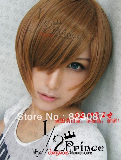 Death Note.Light Yagami, 1221, Fambulous Cheap Brown short straight Cos costume Wig,Free shipping(China (Mainland))