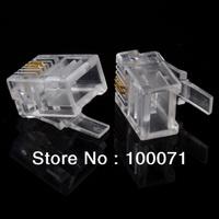 100Pcs Durable 2 Pin RJ11 RJ-11 6P2C Modular Plug Telephone Phone Connector Hot  [8803|01|1H]