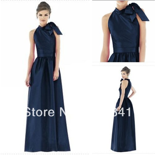 Elegant Chic A-line Halter Sleeveless Navy Blue Satin Long Design Bridesmaid Dress Online(China (Mainland))