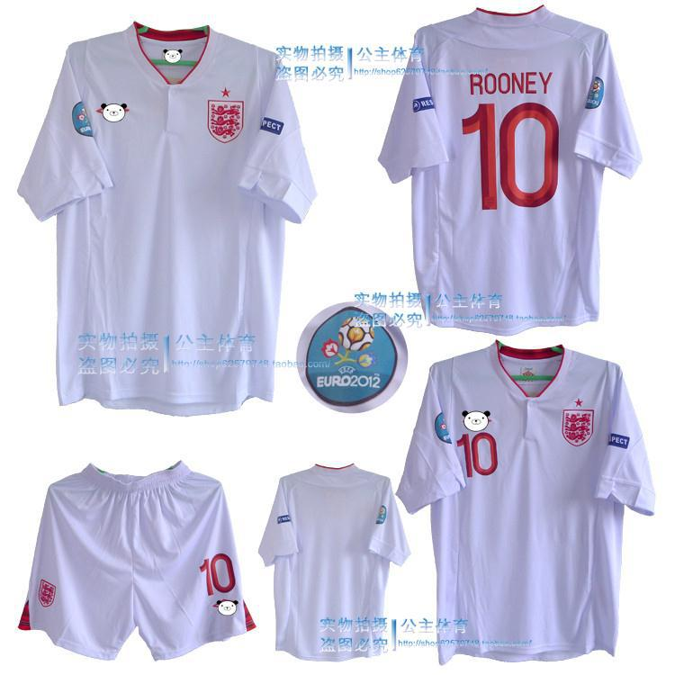2012 European Cup England Home Jersey All England team football clothes, Rooney, Terry(China (Mainland))