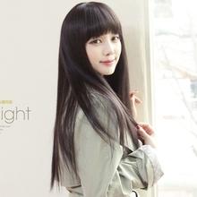 Qi long straight hair bangs rebecca charm elegant sleek fashion female wig(China (Mainland))