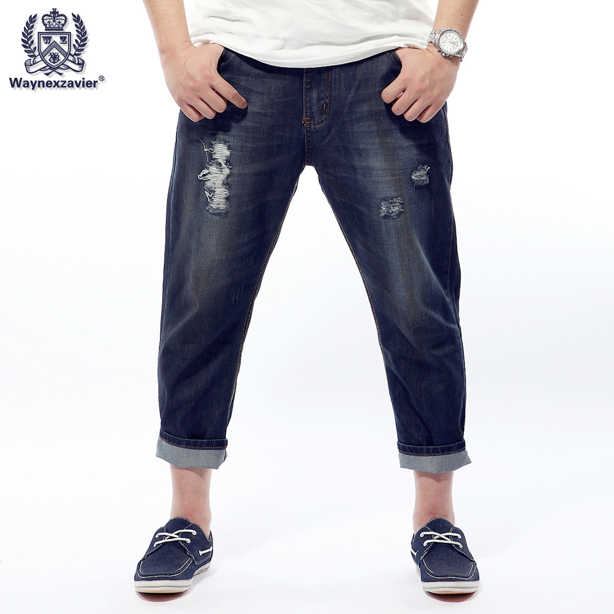 Plus size plus size male retro finishing distrressed skinny fashion jeans ankle length trousers 241(China (Mainland))