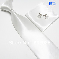 NEW Men's Neck Tie Necktie & hankie Cufflink set poly woven solid prom wedding white