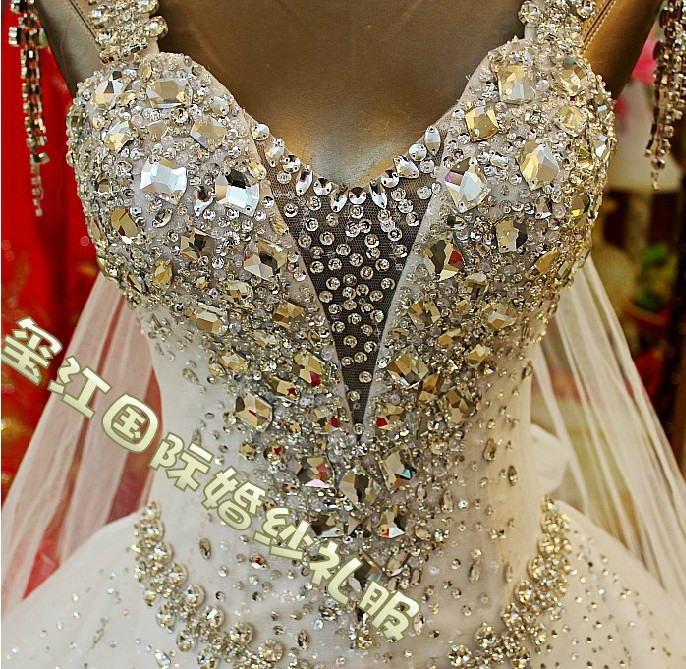 free shipping 2013 Luxury Expensive Full Swarovski Crystal Lace ivory Wedding Dress xj11009(China (Mainland))