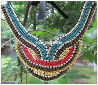 Hot Sell National Style Collar Necklaces,Multi Colors Wood Beads choker Suitable for all clothes match,Free Shipping