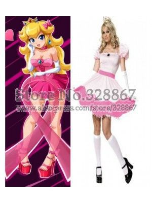 Super Mario Bros Princess Peach Short Dress Game Cosplay Costume(China (Mainland))