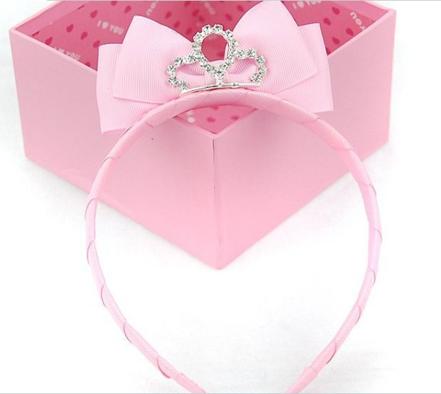 Freeshipping!New Girls/Kids/Infant/Baby pink crown hairband hairclip /Hair ornament/Accessories/headwear gift ,ZHB154(China (Mainland))