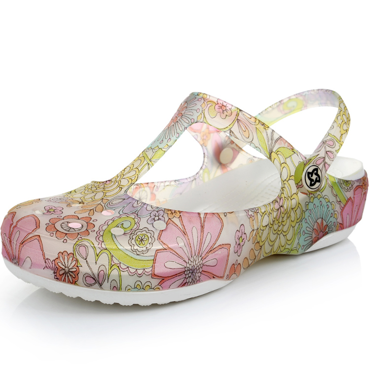 2013 hotselling summer Mules Clogs print hole jelly women's slippers sandals platform wedges sandals lumious can wholesale(China (Mainland))