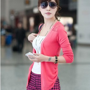 1 pcs free shipping .Sweaters, the female thin coat, solid color the sweet hollow blouse, air conditioning sweater, shawl(China (Mainland))