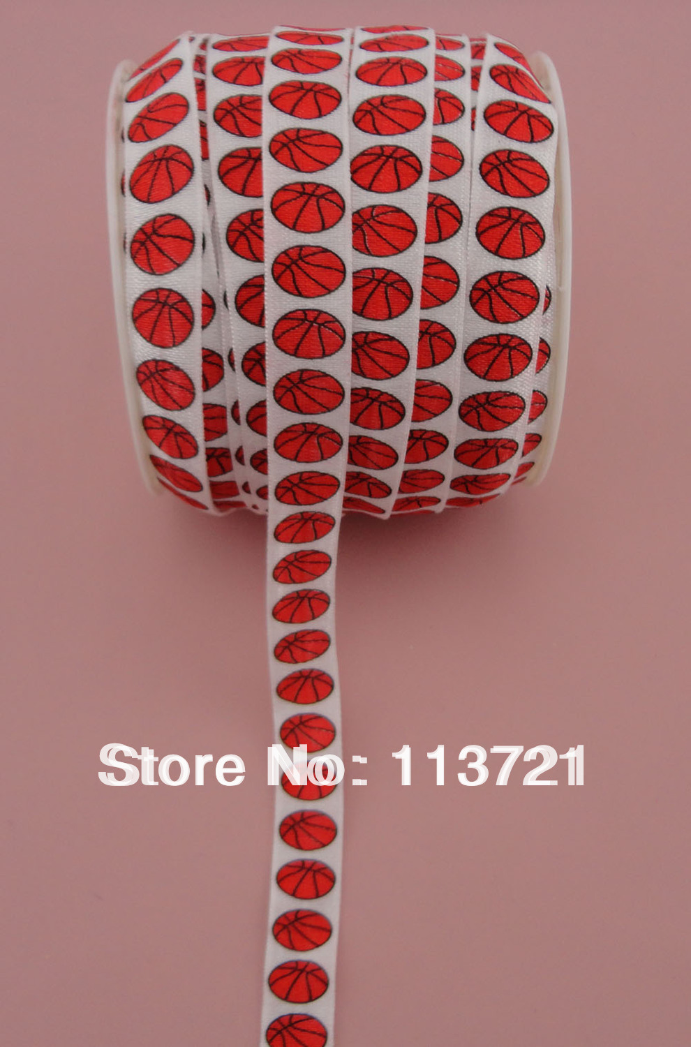5/8'' white fold over Elastic foe with red basket ball printing for hair accessories kits and jewelry finding(China (Mainland))