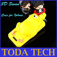 Cheap Wholesale New Arrival SWAN Silicone 3D Case For iPhone 4 4S 5 5G 5TH Protective Cover Retail Package Free Shipping